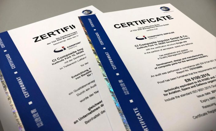 CI Composite Impulse ist zertifiziert nach DIN EN 9100 und DIN EN ISO 9001